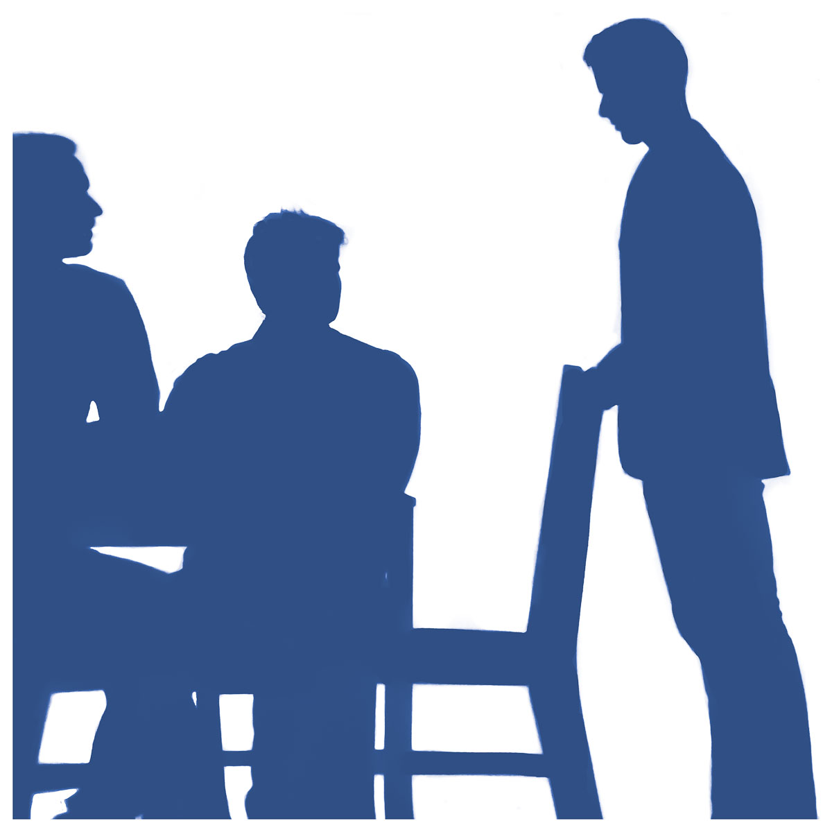 Blue silhouette of a man reaching for chair and 2 men sitting down looking at him