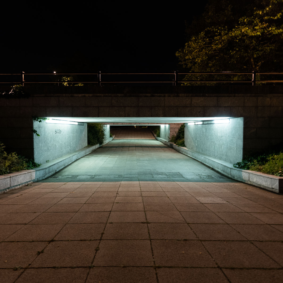 Entrance of a grimy Milton Keynes underpass