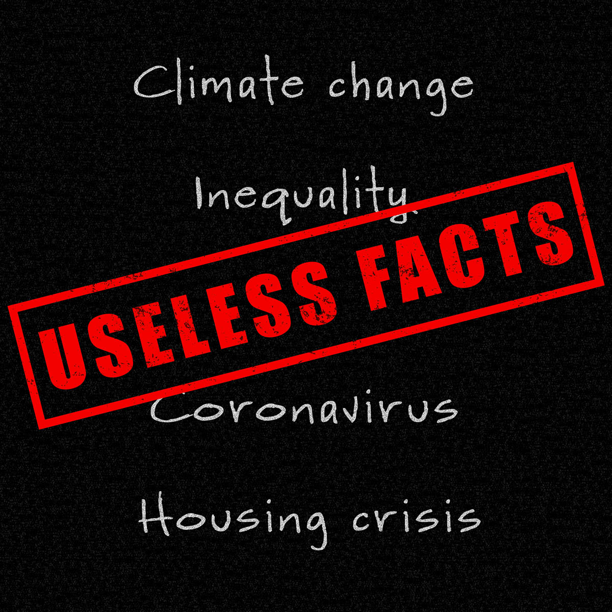 Useless Facts red stamp on real world facts