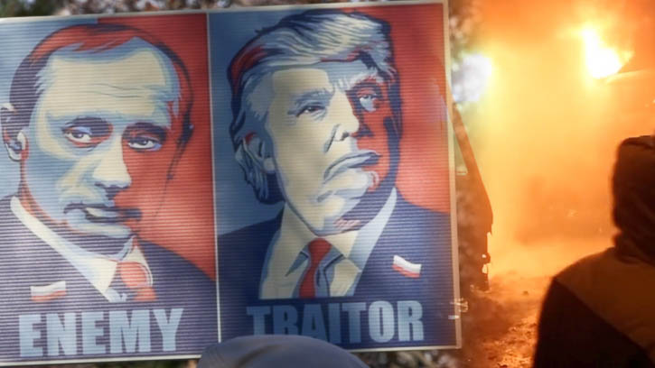 Trump and Putin on sign with fire behind it